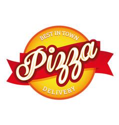 vintage pizza sign lettering stamp vector image
