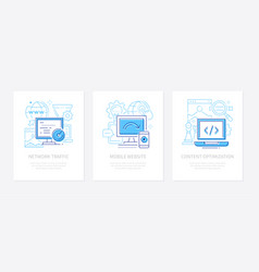 web development - line design style banners set vector image