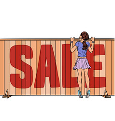 woman looks over fence sale house real estate vector image