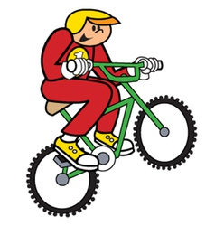 Boy on bike vector image vector image