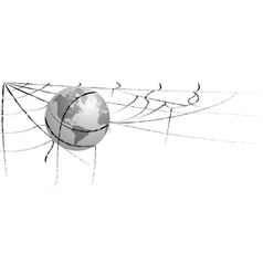 earth entangled in spiderweb vector image vector image
