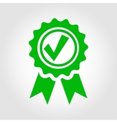 Green approved certificate icon vector