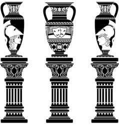 hellenic jugs with columns second variant stencil vector image vector image