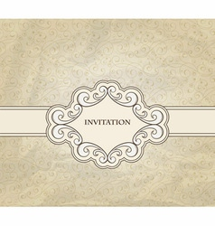 invitation on floral frame and seamless pattern vector image