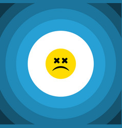 isolated dizzy emoticon flat icon cross-eyed face vector image