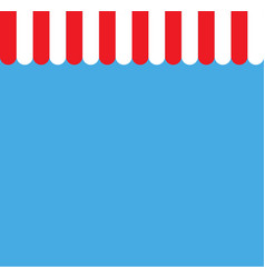 red and white strip shop awning with space red vector image vector image