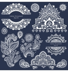 Set of ornamental Indian symbols vector image vector image