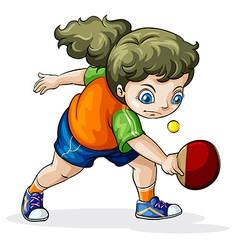 A Caucasian girl playing table tennis vector image