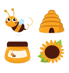 Bee and honey icons set isolated on white vector image vector image