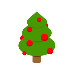christmas tree isometry decorated fir geometry vector image