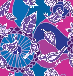 flower and bird pattern vector image vector image