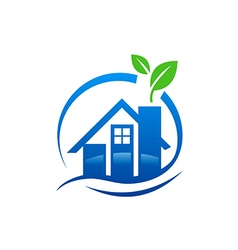house water leaf ecology logo vector image vector image