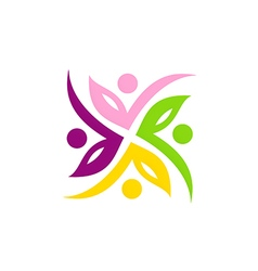 leaf colorful beauty circle logo vector image vector image