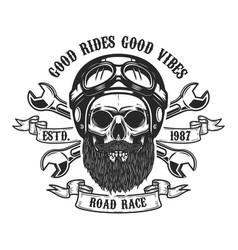 racer skull in helmet design element for emblem vector image vector image