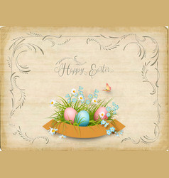 retro easter card vector image vector image