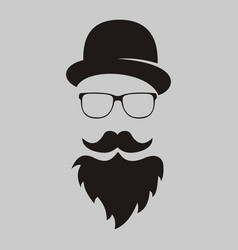 retro the mans silhouette with mustache and a vector image