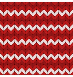 Seamless red and white knitted pattern vector image