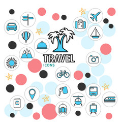 summer vacation line icons collection vector image vector image