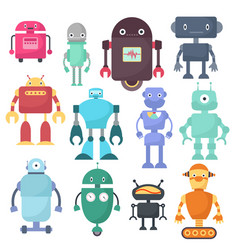 cute robots cyborg machine science vector image