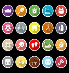 Fitness icons with long shadow vector image