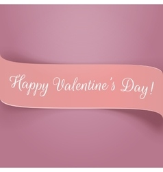 Holiday pink paper valentines ribbon with text vector