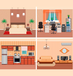 house interior living room domestic workplace vector image vector image