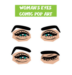 pop art cartoon comic smile wink woman eyes vector image vector image
