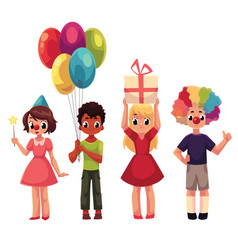 set of kids at birthday party holding gift and vector image