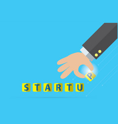 startup word and business hand business concept vector image vector image