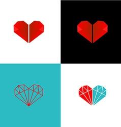 Two diamonds heart logo vector image