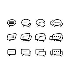black line speech bubble icons set vector image
