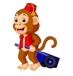 circus monkey carrying cart vector image