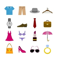 Collection of clothes accessories vector image