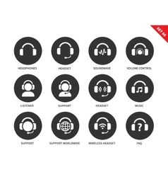 Ear-laps icons on white background vector image vector image