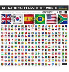All official national flags world old vector