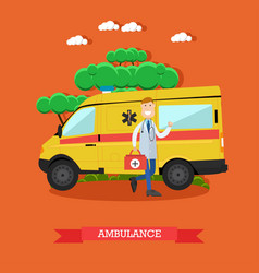ambulance concept in flat vector image