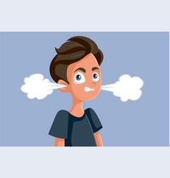 Angry teen boy cartoon vector