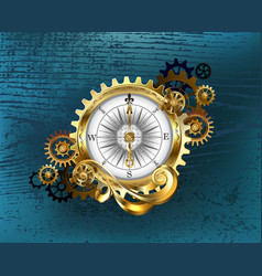Antique compass with gears vector