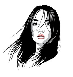 asian girl portrait black and white ink vector image