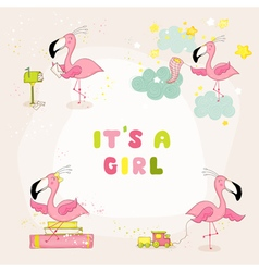 Baby flamingo set - baby shower or arrival card vector