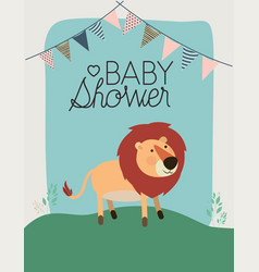 Baby shower card with cute lion vector