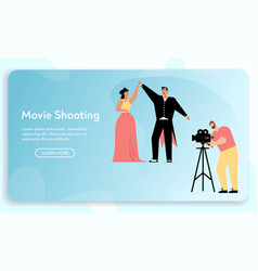 Banner movie shooting concept vector