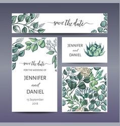 Banner with flowers end leafs wedding invitation vector