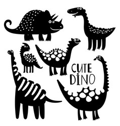 Black and white dinosaurus set vector