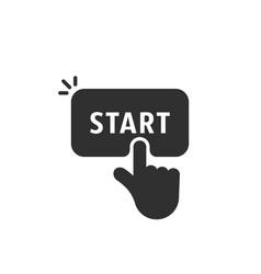 black start button like finger pushing vector image