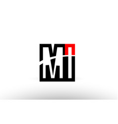 black white alphabet letter mi m i logo icon vector image