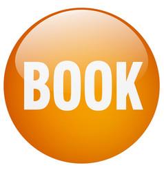 Book orange round gel isolated push button vector