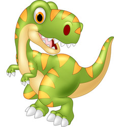 cartoon dinosaur tyrannosaurus looks sideways vector image