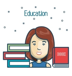 Cartoon girl student education books read design vector