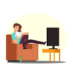 cartoon woman rest on chair with book tv and beer vector image